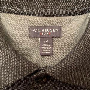 Gray Short Sleeve Van Heusen Flex Polo Shirt Sz L